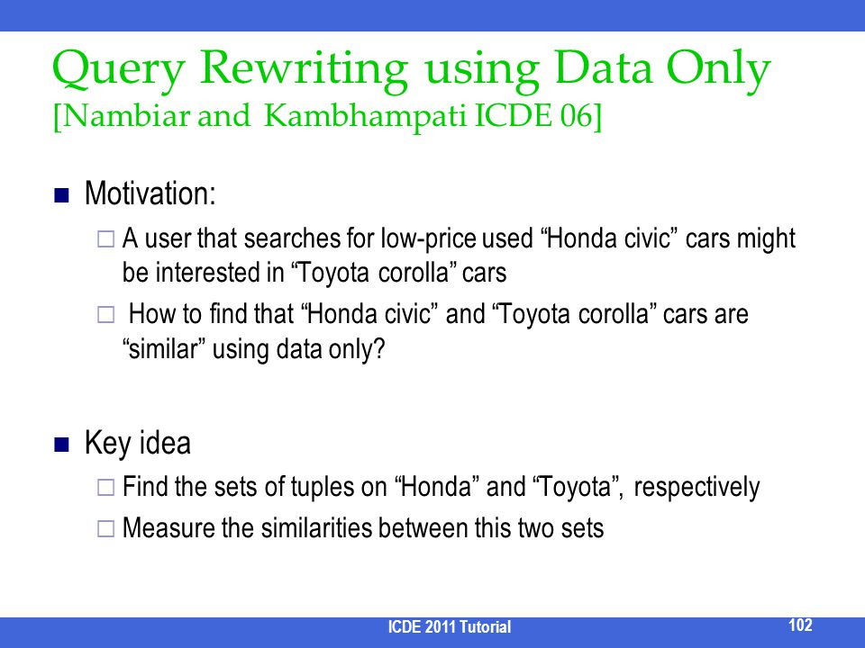 Query Rewriting using Data Only [Nambiar and Kambhampati ICDE 06]